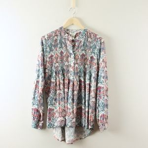 Sundance Catalog Printed Pleated Rayon Blouse Top